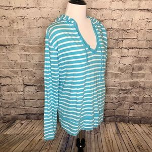 fresh produce Tops - Fresh Produce Striped V-Neck Hoodie Pullover XL